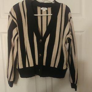 BP Nordstrom Black Cream Striped Short Sweater XL
